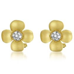 Collette Z Gold-plated Sterling Silver Cubic Zirconia Flower Earrings