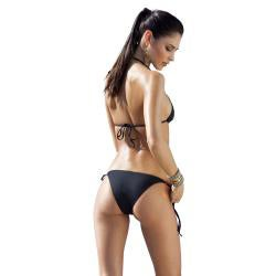 1 Sol Swim Women's 2-piece Triangle Top Embellished Laser Cut Bikini