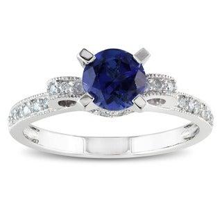 Miadora 10k Gold Created Sapphire and 1/2ct TDW Diamond Ring (G-H, I2) (1/4ct TGW)