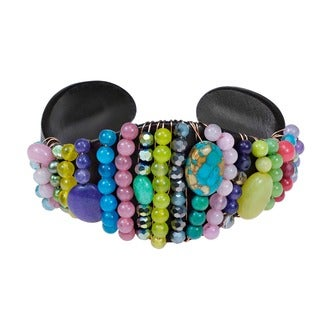Lively Multicolor Flair Gemstone Leather Cuff Bracelet (5-4 mm)(Thailand)