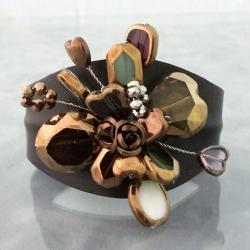Floral Romance Glass Rose Leather Cuff Bracelet (Thailand)