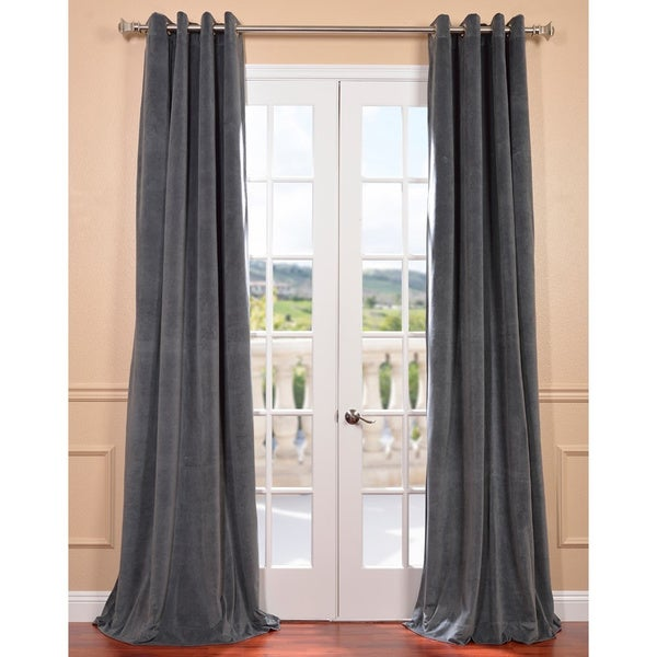 EFF Natural Grey Velvet Blackout Curtain Panel
