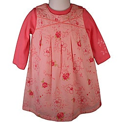 Laura Ashley Girl's Flowered Coral Jumper Dress
