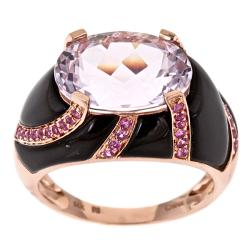 Anika and August D'Yach 14k Rose Gold Kunzite, Onyx and Ceylon Pink Sapphire Ring