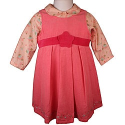 Laura Ashley Baby Girl's Pink Corduroy Jumper Dress Set