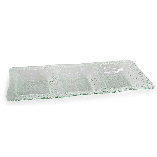 Danya B. Rectangular 3-Sectional Textured Glass Platter