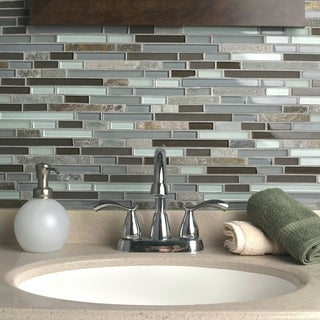 SomerTile Reflections Piano Tundra Glass/Stone Mosaic Tile (Pack of 10)
