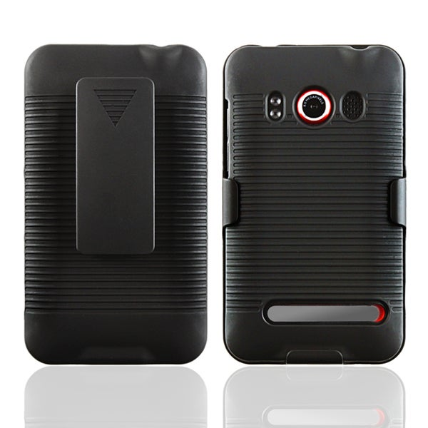 INSTEN Black Swivel Holster with Stand for HTC EVO 4G
