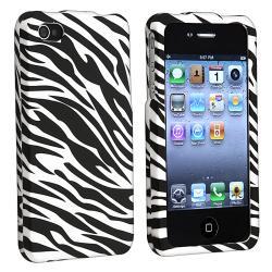 INSTEN White/ Black Zebra Snap-on Phone Case Cover for Apple iPhone 4/ 4S