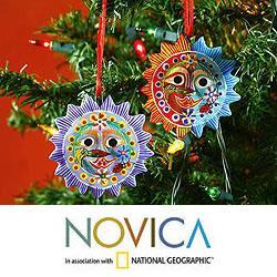 Set of 6 Ceramic 'Lord of the Sun' Ornaments (Guatemala)