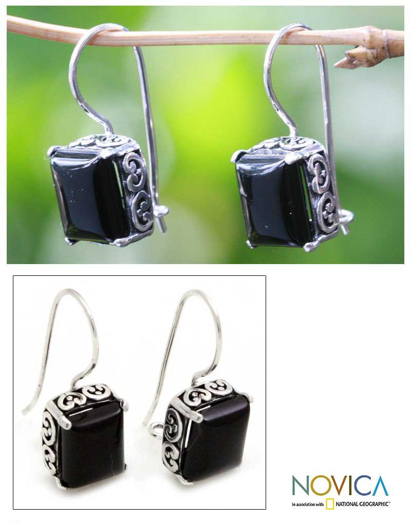 Sterling Silver 'Imagine' Onyx Dangle Earrings (Indonesia)