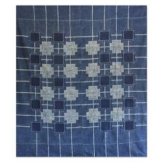Batik Cotton 'Indigo Cross' Bedspread (Thailand)
