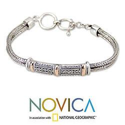 18 Karat Gold Accent Sterling Silver 'Wishes' Bracelet (Indonesia)