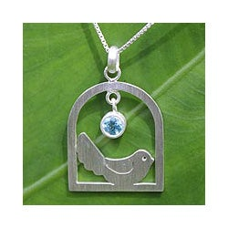 Sterling Silver 'Happy Bird' Blue Topaz Necklace (Thailand)