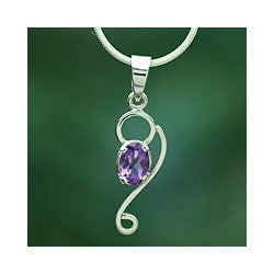 Sterling Silver 'Spiritual Love' Amethyst Necklace (India)