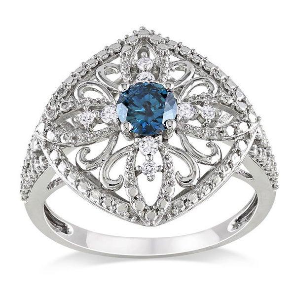 Miadora 10k White Gold 1/2ct TDW Blue Diamond Ring (I1-I2)