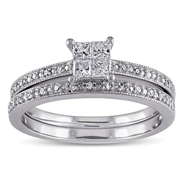 Miadora 10k White Gold 1/3ct TDW Diamond Ring Set (G-H, I2-I3)