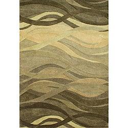 Alliyah Handmade Green New Zealand Blend Wool (8' x 10')