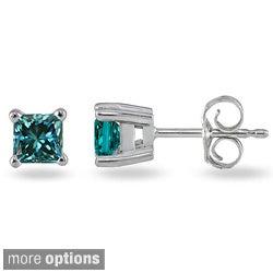 14k White Gold 1/4ct or 3/8ct Blue Diamond Princess Stud Earrings
