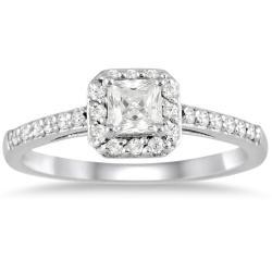 10k White Gold 1/2ct TDW Diamond Halo Engagement Ring (I-J, I1-I2)