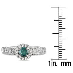 10k White Gold 7/8ct TDW Blue and White Diamond Halo Ring (I-J,I1-I2)