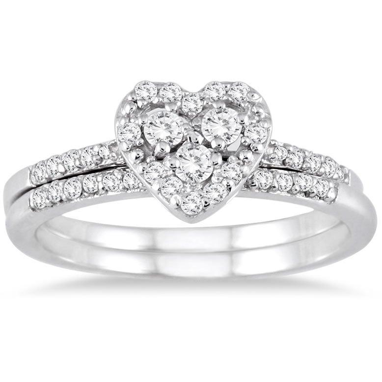 10k White Gold 3/8ct TDW Diamond Heart Bridal Ring Set