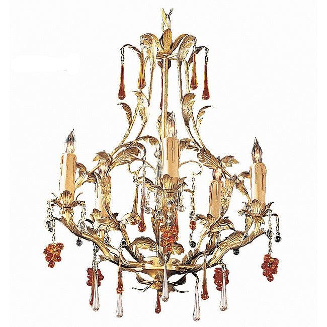 Crystorama Ritz Gold Leaf 5-light Chandelier
