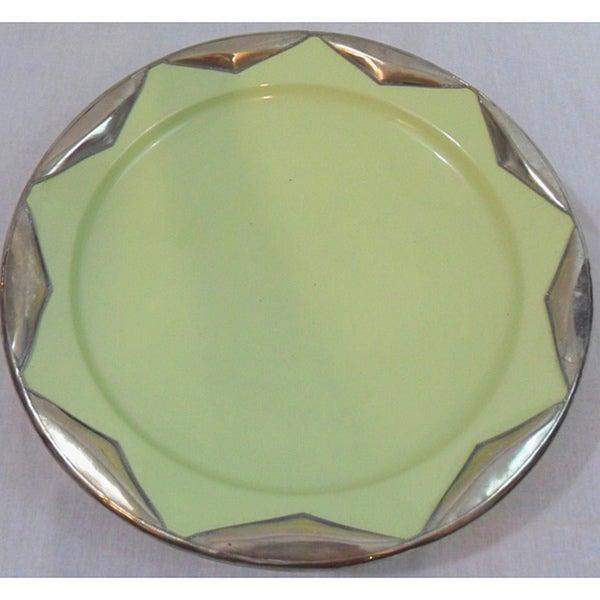 Ceramic Plate with Silver Trim (Morocco)