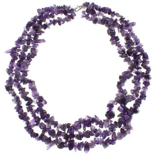 Pearlz Ocean Amethyst Triple Strand Chip Necklace