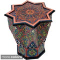 Handpainted Arabesque Atlas Star Wooden End Table (Morocco)