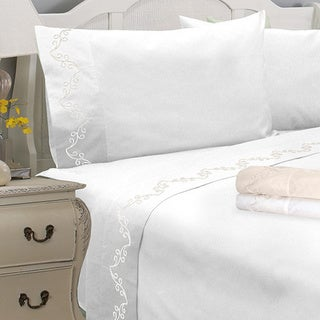 Grand Luxe Egyptian Cotton Sateen 1200 Thread Count Scroll Deep Pocket Sheet Set and Pillowcase Separates