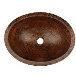 Oval Skirted Compact Hammered Copper Vessel Sink