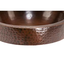 Oval Skirted Hammered Copper Vessel Sink