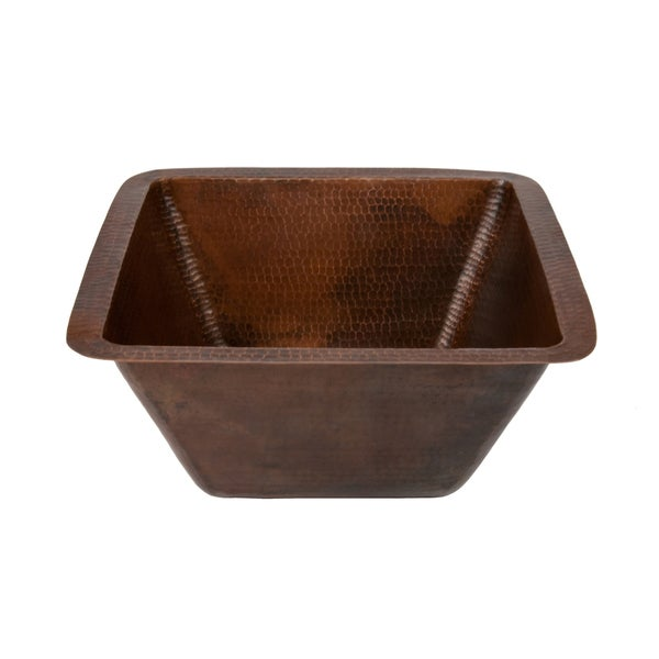 Square 15-in Hammered Copper Bar/Prep Sink with 2-inch Drain