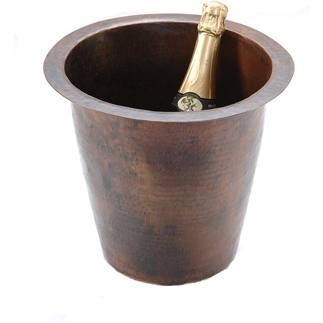 Round Champagne Oil Rubbed Bronze Copper Drop-in Bar Sink