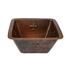 Square 'Fleur De Lis' Oil Rubbed Bronze Copper Drop-in Bar Sink