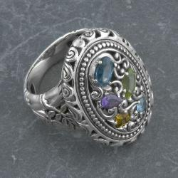 Sterling Silver Multi Gemstone 'Cawi' Ring (Indonesia)