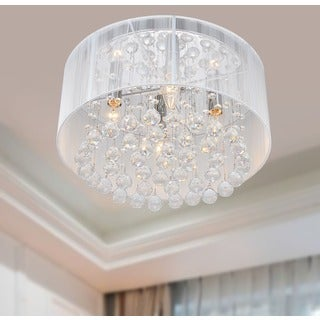 Flushmount 4-light Chrome and White Crystal Chandelier