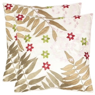 Safavieh Motif 18-inch Cream/ Green Decorative Pillows (Set of 2)