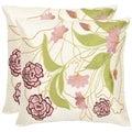 Safavieh Rose Garden 18-inch Cream/ Pink Decorative Pillows (Set of 2)