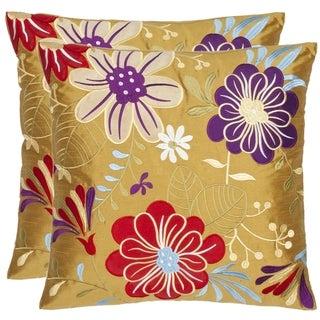 Safavieh Japan Garden 18-inch Gold Decorative Pillows (Set of 2)