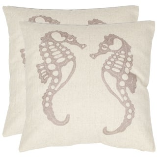 Safavieh Seahorse 18-inch Cream/ Taupe Decorative Pillows (Set of 2)