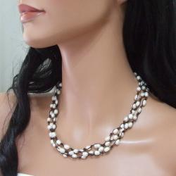 Three-Strand White Pearl Flowing Necklace (6-9 mm)(Thailand)
