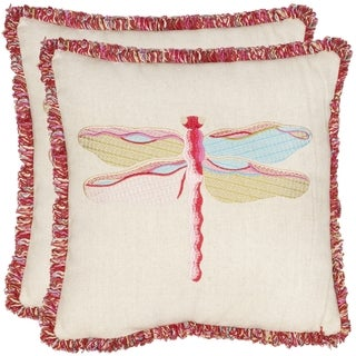 Safavieh Fuchsia Dragonfly 18-inch Beige/ Red Decorative Pillows (Set of 2)