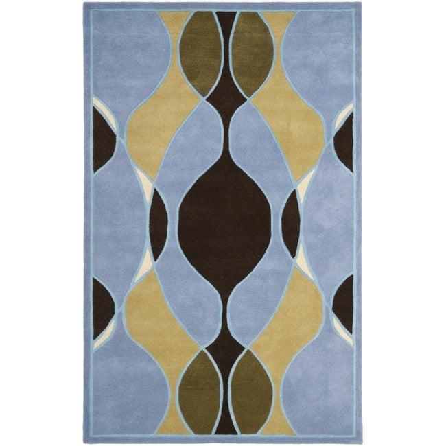 Safavieh Handmade Tiff Blue New Zealand Wool Rug (7'6 x 9'6)