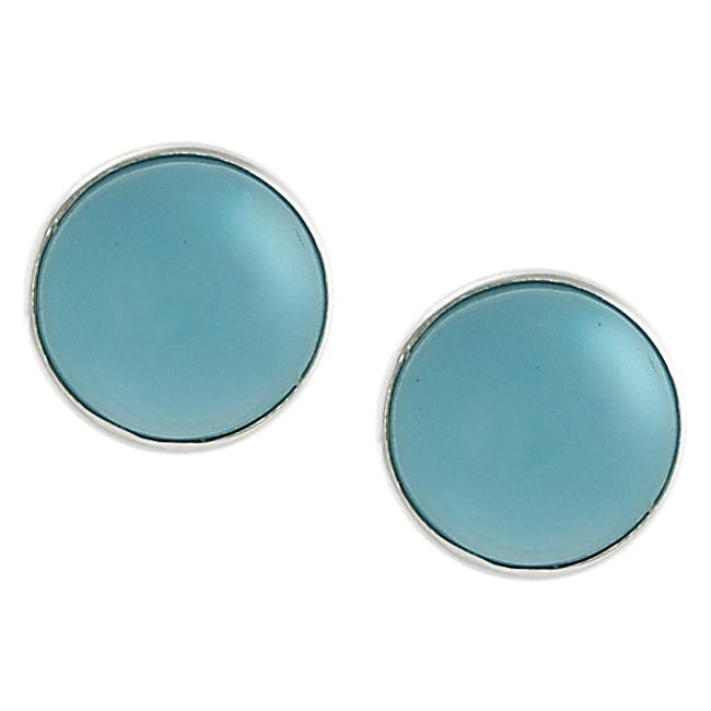 Journee Sterling Silver Created Turquoise Round Earrings