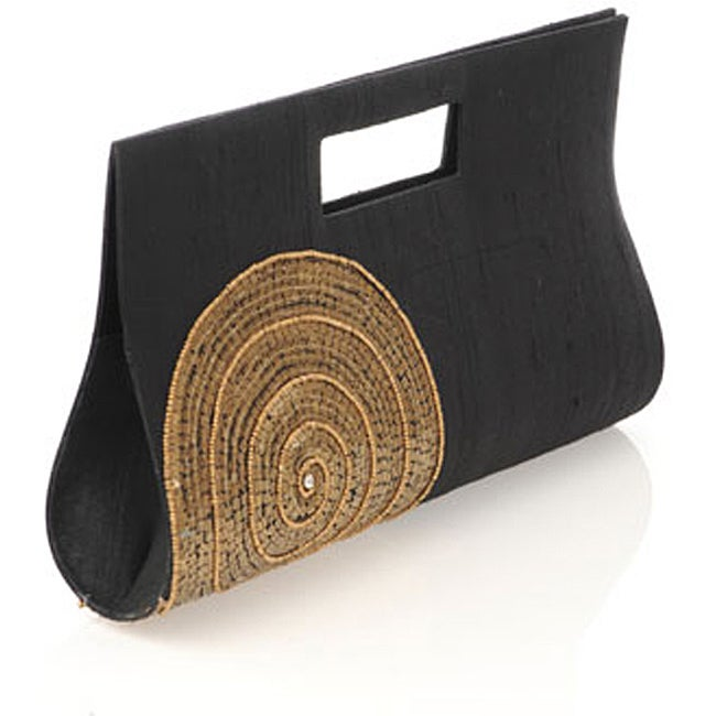 Black Silk Gold Circle Embroidered Clutch (India)