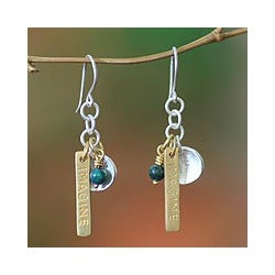 Sterling Silver 'Imagine If' Chrysocolla Earrings (Indonesia)