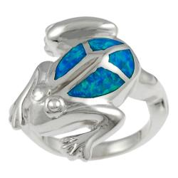 Tressa Sterling Silver Blue Opal Jumping Frog Ring