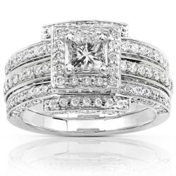 14k White Gold 1 1/2ct TDW Diamond Princess Halo Bridal Ring Set (H-I, I1-I2)